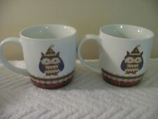 Holiday Collection by Creative Tops Ltd Set of 2 Owl Coffee Mugs Tea Cups Euc!