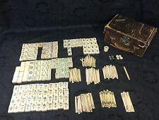Vintage 1920s Bone & Bamboo Mah Jong Set w/ Case 152 Tiles / 202 Counting Sticks