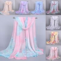 Fashion Women Print Lotus Flower Soft Silk Chiffon Neck Scarf Wrap Shawl Stole