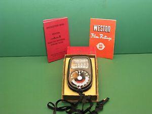 Vintage Weston Master II Exposure Light meter original box and instructions