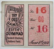 1912 Jim Thorpe Olympic Harvard Stadium Ticket Stub