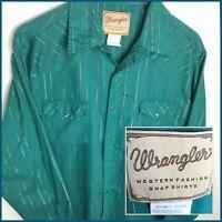 Wrangler Men's Western Metallic Stripe Pearl Snap Long Sleeve Button Shirt XL