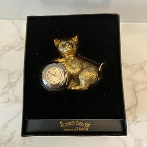 NEW WATERBURY CLOCK CO. Mini Gold Cat TIMEX CLOCK Collectible In Box Great Gift!