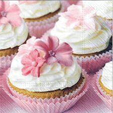 4 Tovaglioli di carta singolo DECOUPAGE. COPPA torte, rosa, shabby chic design -320