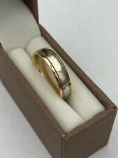 White & Yellow 18ct Gold Banded Wedding Ring Size I