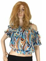 Available USA Womens Top Crop Chiffon Relaxes Off The Shoulder Floral Sheer S