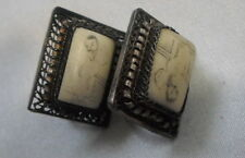 VERY OLD CHINA 800 SILVER FILIGREE EARRINGS W, ASIAN PANELS