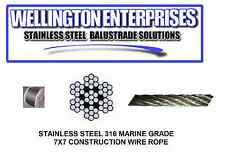 WIRE ROPE BY THE METER  STAINLESS STEEL  4mm 7 x 7 316