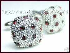 Ruby Red Crystal Cuff Links cufflinks #C-20
