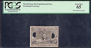 2ND ISSUE 25¢ EXPERIMENTAL FRACTIONAL CURRENCY PCGS GEM NEW 65 WL4665