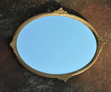 Antique Vintage Art Deco Large Ornate Gilt Frame Oval Wall MIRROR Bevelled Edges