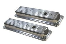 SB Chevy Chrome Steel Stock Style Center Bolt Valve Covers 305 350 5.0 5.7 V-8