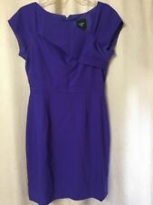 J CREW Suiting Size 6 Purple Wool Dress Cap Sleeves Fully Lined Career Dress