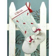 "Dimensions 08902 Snow Bears 16"" Customizable Christmas Cross Stitch Stocking Kit"