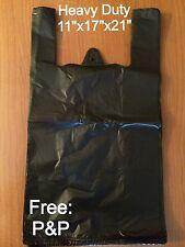 "HEAVY DUTY BLACK VEST CARRIER BAGS 850x BAGS (11""x17""x21"")"