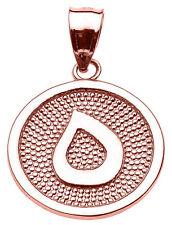 "14k Rose Gold Arabic Letter ""ha"" H Initial Charm Pendant"