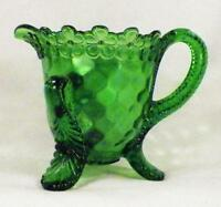 Vermont Creamer Green Early American Pattern Glass US 15060 Honeycomb Antique