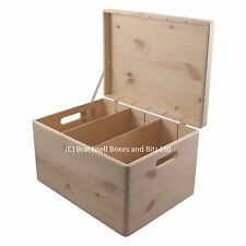 Large Pine wood storage box with dividers BPU170D 39.5x29.5x23.5CM trunk chest