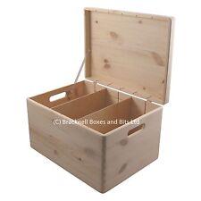 Pine wood storage box with dividers BPU170D 39.5x29.5x23.5CM wedding memory baby