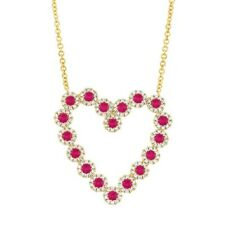 14K Yellow Gold Ruby Diamond Heart Pendant Necklace Natural Round Cut 1.34 TCW