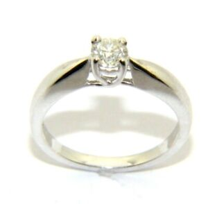 Ladies womens 9ct 9carat white gold diamond solitaire engagement ring  UK size N