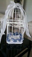 WEDDING RECEPTION BIRDCAGE CARD HOLDER* WHITE METAL *EXCELLENT SHAPE ~ TOP OPENS