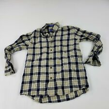 Pendleton Men's Shirts Small Long Sleeve Button Front Blue Beige Cotton Wool