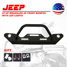Jeep Wrangler JK Front Bumper Built-in LED Lights w/ Winch Plate Bull Bar 07-17