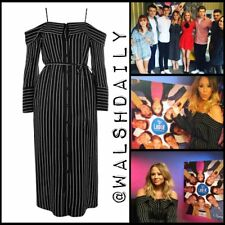 BNWT Topshop Black Pinstripe Bardot Off Shoulder Midi Dress 14 £50 CELEBRITY