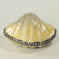 Bejeweled clam shaped trinket box with crab inside, figurine in antique silver