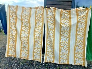Vintage Sand Yellow & White Pattern Curtains x 1 pair 48in wide x 60in drop