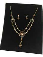 Austrian crystal golden necklace set sparkly prom party gold tone FREE GIFT BOX