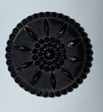 DECORATIVE STYLISED FLOWER DESIGN VICTORIAN BLACK JET BUTTON EXC COND  4CM