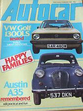 AUTOCAR MAGAZINE FEB 1981 VW GOLF 1300LS TEST AUSTIN A35 DE VILLE LIMA SPORTS