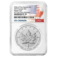2019 1 oz Modified Proof Silver Canadian Maple NGC PF 70 ER (Two Flags Label,