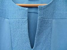 NWT Adrianna Papell Cornflower Blue Silid Keyhole 3/4 Sleeve Sharkbite Top S $78