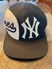 New York Yankees Split Color Snapback Hat Vintage   90's Logo7 Athletic