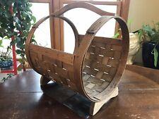 Vintage Firewood Holder Split Wood Large Gathering Basket Open ended