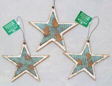 "Star Blue Silver Ornament Set 3 Christmas Wood Metal 5"" Rustic Kurt Adler"