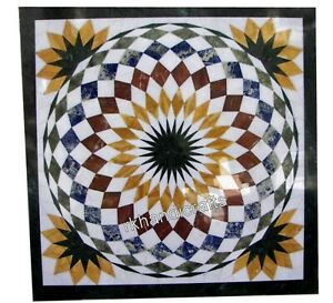 16 Inches Marble Coffee Table Top Inlay Bed Side Table with Multi Color Stones