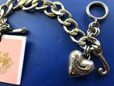 """Juicy Couture 7"""" silver tone chain Charm bracelet with dangling heart"""