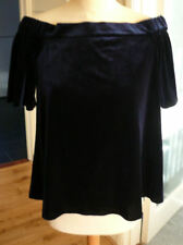 NWT River Island dark blue velvet off the shoulder top size 10