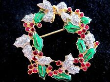 "Swarovski Swan Signed Red Green Gold Berry Bow Wreath  Brooch Silver 1.5 ""   041"