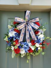 """Handmade 18"""" Patriotic 4th of July Straw Wreath w/Artificial Flowers & Bow"""