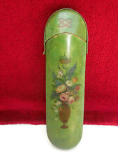 Antique Victorian eye glasses wood case hand painted,beautiful floral design