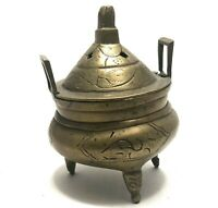 Vintage Brass Chinese Burner Incense Antique Handmade Censer Decor Lid Signed