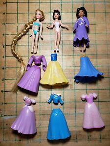 Disney Polly Pockets Princesses: Rapunzel, Snow White, Jasmine & Rubber Gowns