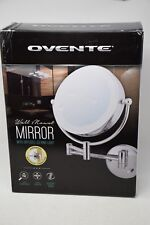 Ovente Lighted Wall Mount Mirror, 8.5 Inch, Dual-Sided 1x/7x Magnification Wired