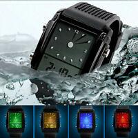 SKMEI Mens Sport Military Dual Time Zone Digital Analog Alarm Quartz Wrist Watch