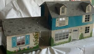 Vintage 1950 60s Marx Tin Litho Two Story Dollhouse Breezeway Dormers Blue